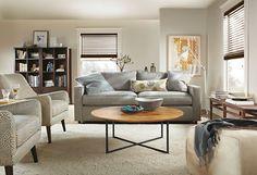 Quinn Chair & Ottoman in Mirror Fabric - York Sofa Living Room - Living - Room & Board