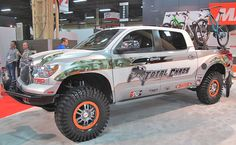 Total Chaos had their Maxxis shod Toyota Tundra in the show and we wanted to go shuttling with them. We know this isn't SEMA, but check out the FOX Racing Shox behind each wheel. This is a toy that many of us would like to get behind the wheel of rally our way to the local trail head in (1600x989)