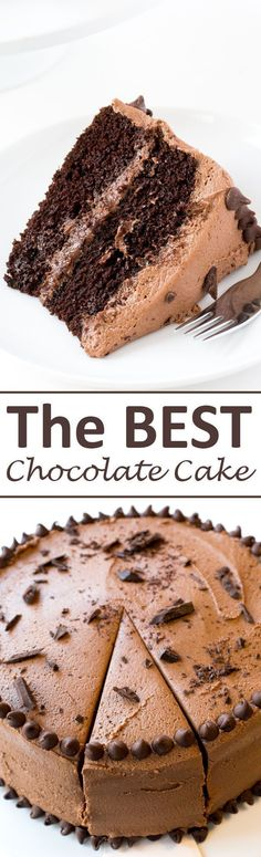 The BEST Chocolate Cake with Creamy Chocolate Buttercream Frosting! The perfect cake for parties, birthdays or just because! | chefsavvy.com #recipe #dessert #chocolate #cake