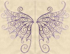 Delicate Wings (Wing Pair) | Urban Threads: Unique and Awesome Embroidery Designs