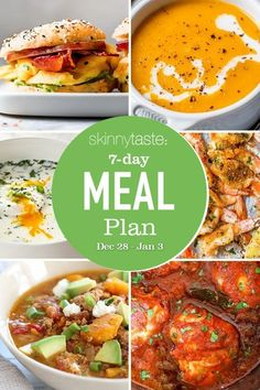 A free 7-day, flexible weight loss meal plan including breakfast, lunch and dinner and a shopping list. All recipes include calories and updated WW Smart Points. Cooking Recipes, Healthy Recipes, Healthy Meals, Delicious Recipes, Clean Eating, Healthy Eating, Eating Well, Whole Wheat Spaghetti, Antipasto Salad
