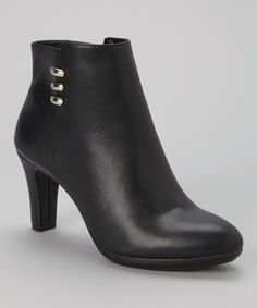 Look at this #zulilyfind! Black Sondra Leather Bootie by Anne Klein #zulilyfinds