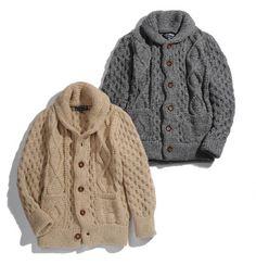 alpaca aran knit cardigans
