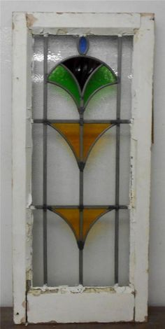 """LARGE OLD ENGLISH LEADED STAINED GLASS WINDOW Abstract Design 14.25"""" x 32"""""""