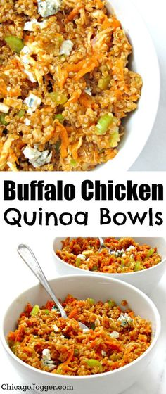 Buffalo Chicken Quinoa Bowls - an easy way to get your buffalo sauce fix with protein-packed quinoa, crunchy veggies and bleu cheese. | Chicago Jogger #quinoa #buffalochicken