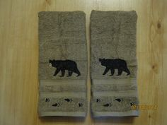 NWT 2 Black Bear with Tracks Tan Hand Towels Lodge by SewnbyStacy