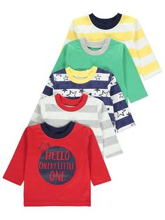 Update their mix-and-match collection, with this great value pack of 5 long sleeve tops. Offering 2 slogan tees, 2 stripe print options and a star print desi. Latest Fashion For Women, Long Sleeve Tops, Tees, Style, Swag, T Shirts, Teas, Outfits, Shirts