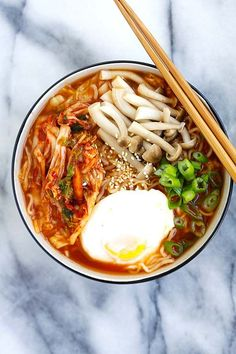 Kimchi Ramen - spicy Korean ramen with kimchi, mushrooms and poached egg. - Kimchi Ramen – spicy Korean ramen with kimchi, mushrooms and poached egg. Easy Delicious Recipes, Easy Healthy Recipes, Asian Recipes, Vegetarian Recipes, Easy Meals, Easy Ramen Recipes, Ramen Noodle Recipes, Tasty, Healthy Soup