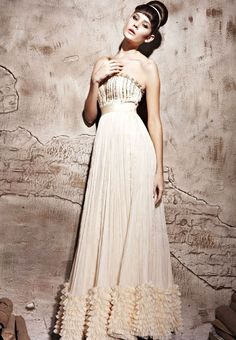 Apricot Strapeless Prom Formal Ball Long Evening Dress