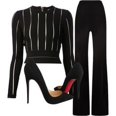 A fashion look from September 2015 featuring Balmain tops, MaxMara pants and Christian Louboutin pumps. Browse and shop related looks.