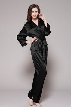 Black color 100 pure silk pajamas women are online. This 100-percent pure  silk 3a8550fc6