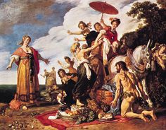 """""""Odysseus and Nausicaa"""" by Pieter Lastman. Lastman (1583-1633) was a Dutch painter and is considered important because of his work as a painter of history pieces and because his pupils included Rembrandt and Jan Lievens. In his paintings Lastman paid a lot of attention to the faces, hands and feet. Between approximately 1604 and 1607 Lastman was in Africa, where he was influenced by Caravaggio (as were the painters of the Utrecht School a few years later) and by Adam Elsheimer."""