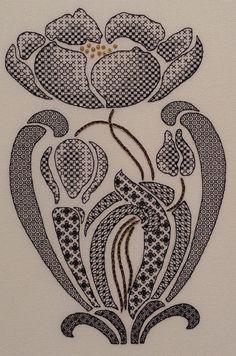 Art Nouveau Poppy Blackwork Chart : by MaggieGeeNeedlework on Etsy