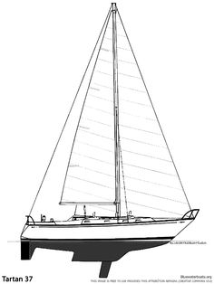 Sabre 34-2 (Aft Cabin) drawing on sailboatdata.com