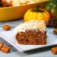 Oh yum! I'm making this! Pumpkin Caramel Cream Cheese Poke Cake Is The Perfect Dessert For Fall!