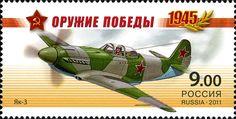Sello: Fighter YAK-3 (Rusia) (Weapon of the Victory) Mi:RU 1708A,WAD:RU 014.11