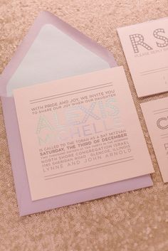 Let me introduce our ALEXIS suite in blush and lavender holographic foil, perfect for announcing a unicorn themed Bat Mitzvah celebration!Super sweet and on trend, is this the perfect invitation for your special day? Invitation Fonts, Unicorn Invitations, Invites, Letterpress Business Cards, Letterpress Wedding Invitations, Pop Up Dinner, Bat Mitzvah Party, Bar Mitzvah Invitations, Holographic Foil