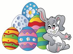 Wall graphic : Bunny resting beside Easter eggs  item by ZoogSay