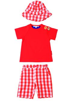 Olive & Moss Louis the Lion Checked Shorts Set available at Kiddiekool