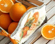 Купить короб для фруктов МАНДАРИНОВЫЙ - белый, оранжевый, мандариновый, мандарины, мандариновый короб, короб с мандаринами