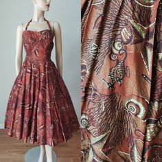 AMAZING Early 1950s Shaheen Sea Creatures  Sea Motif Halter Dress / Cotton Hawaiian Dress with Full Skirt / 1950s Hawaiian / Small Med Vintage Summer Dresses, 50s Dresses, Vintage Outfits, Vintage Fashion, Box Pleat Skirt, Pleated Skirt, Bra Styles, Sea Creatures, Vintage Tops