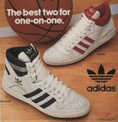 1984 Adidas Print ad for Decode and Strider Basketball Shoes.