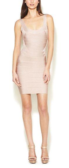 Herve Leger Dress (Pre-owned Zeina Boatneck Sleeveless Pink Bandage Dress)
