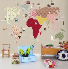 Whole Wide World (P120202-6) - Mr Perswall Wallpapers - A fun kids world atlas mural  shown in funky patterns and colours on a beige background. other colour ways available. x2 colour ways available. Total mural size 270 cm wide and 265 cm high. SAMPLES NOT AVAILABLE.