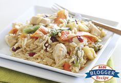 Apple Cranberry Chicken Orzo. This makes a good dinner or light holiday side dish with those fruity fall flavors.