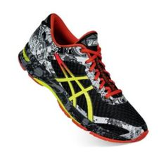 These men's GEL-Noosa Tri 11 running shoes from ASICS feature a  glow-in-the-dark print for nighttime visibility.