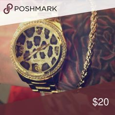 Watch Cute Gold watch with cheetah background Valletta Jewelry