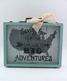 This 'Big Adventures' Wood Savings Bank is perfect way to set aside a little spending money for that dream vacation!