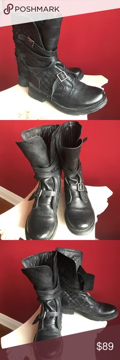 Awesome quilted combat boots Funky and comfortable, these beauties are fully made of soft buttery leather. They're soles have great traction. As you can see they've only been worn twice. What can I say, I'm a shoe junkie. Steve Madden Shoes Combat & Moto Boots
