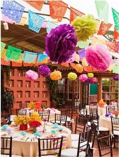 Mix of poms and flags, add in some lights and its perfect #bridalshower #polkadotdesign