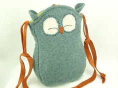 Owl Bag Wool Messenger Bag Recycled Wool in Light by ForMyDarling, $38.00