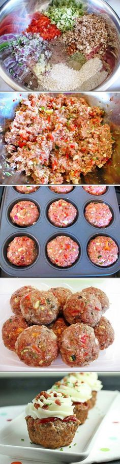 Cupcake de Almôndega   Em um recipiente misture: 1,5 kg de carne moída, 1/2 cenoura picada, 1 cebola picada, 2 dentes de alho picados, 1 col chá de orégano, 1 xíc de farinha de trigo ou rosca, 2 col sopa de mostarda, 3 col de ketchup (opcional), 1 col chá de molho inglês, 1 col chá de azeite de oliva, 2 ovos, sal e pimenta do reino a gosto; Manteiga para untar – Divida e coloque numa forma de cupcakes – Asse em forno médio. Decore com ketchup e purê de batata ou cream cheese.