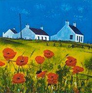 Crofts & x British Schools, Cottages, Poppies, Original Paintings, Archive, Watercolor, Contemporary, The Originals, Scotland