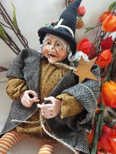 Hand made Halloween witch doll figurine decoration