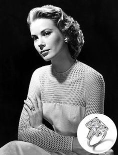 Prince Rainier III of Monaco originally proposed to #GraceKelly with a #Cartier eternity band of rubies and diamonds. When he saw other leading ladies in Hollywood were flashing bigger rings, he quickly ordered this 10.5-carat emerald-cut diamond flanked by two baguettes, also from Cartier.