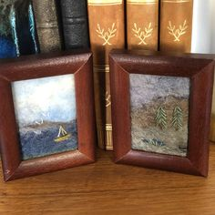 Excited to share this item from my shop: Pair of small vintage Swedish needle felted framed sea scape birds / landscape made with Swedish wool Scandinavian framed art vibrant colors