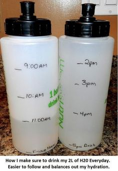 In order to drink enough water each day, labeling a set of water bottles with timestamps is one idea!  This would be great also for school time when you are busy and have other things on your mind than water! Plus you only have to bring two water bottles and store one in locker! GENIUS!