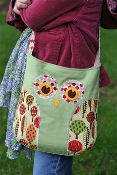 Adorable Owl Tote Bag diaper bags, messenger bags, owl bag, owl purs, bag tutorials, tote bags, bag patterns, purse patterns, owl patterns