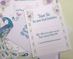 Art Deco Peacock Wedding Reply Cards. Can be printed in your choice of colours.