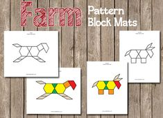 Pre-K Farm Theme Farm Pattern Block Mats and roll games Farm Animals Preschool, Farm Animal Crafts, Preschool Themes, Preschool Lessons, Farm Day, Math Patterns, Farm Unit, Farm Activities, Farm Theme