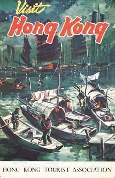 1950s Travel Poster Hong Kong 1955