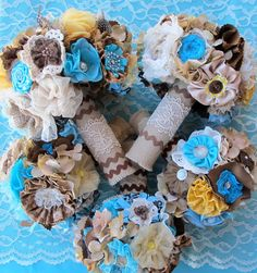 Rustic Burlap Wedding Bouquet: Vintage Fabric Lace Feather Country Bridal. $250.00, via Etsy.    @Tiffany Comeau love this idea we may be able to do this for cheaper tho ???