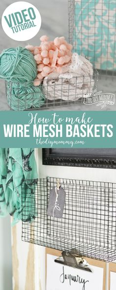 Creative Crafts Made With Baskets - Wire Mesh Baskets - DIY Storage and Organizing Ideas, Gift Basket Ideas, Best DIY Christmas Presents and Holiday Gifts, Room and Home Decor with Step by Step Tutorials - Easy DIY Ideas and Dollar Store Crafts Home Decor Baskets, Diy Home Decor, Room Decor, Creative Crafts, Fun Crafts, Chicken Wire Crafts, Diy Christmas Presents, Holiday Gifts, Basket Crafts