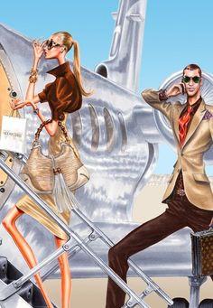 Illustration by: Arturo Elena Illustration Mode, Travel Illustration, Illustration Artists, Fashion Art, Love Fashion, Fashion Brands, Fashion Designers, Fashion Figures, Fashion Sketches