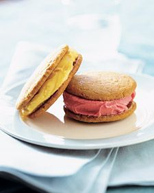 Flattening the salty-sweet ginger dough with the bottom of a sturdy glass ensures cookies of uniform size and thickness. The cookies can be made in advance and sandwiched with sorbet shortly before serving.