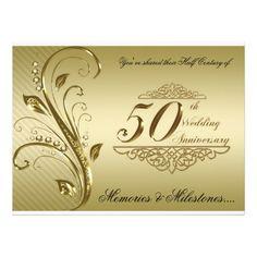 50th Golden Wedding Anniversary Invitation Card